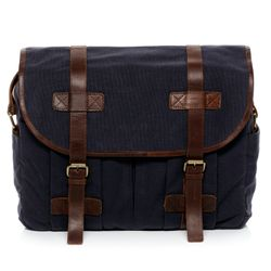 SID & VAIN Messenger bag Canvas & Leder blau-braun Laptoptasche Messenger bag