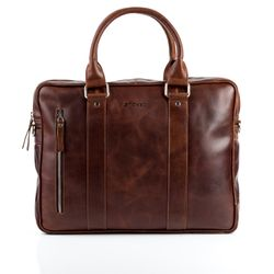 STOKED laptop bag NATHAN -520- business bag PULL-UP leather - brown-cognac