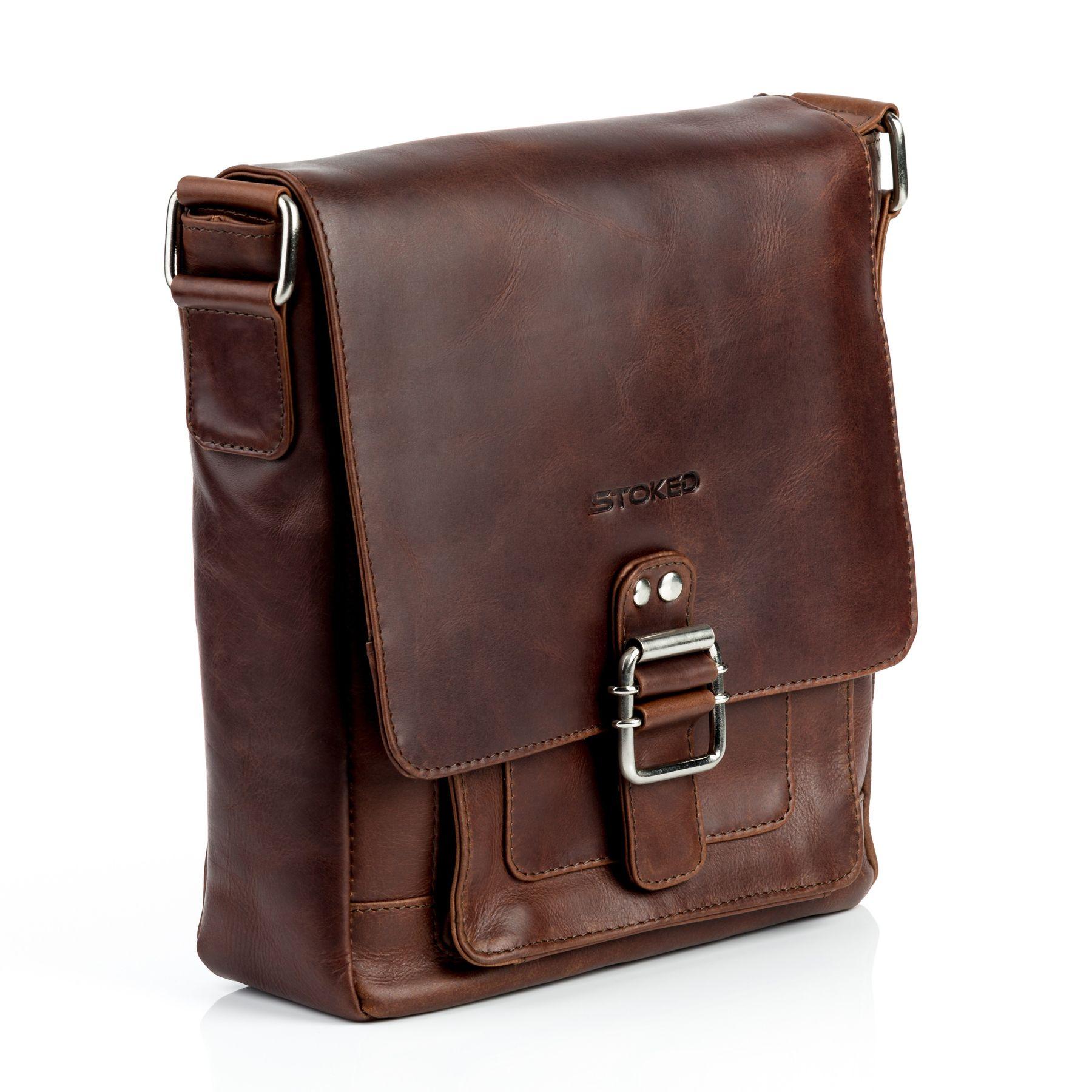 38bac3a812425e STOKED Umhängetasche Natur-Leder NATHAN braun-cognac Messenger Bag ...