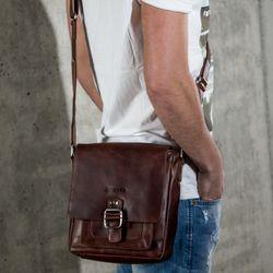 STOKED sac de messager cuir marron sac à bandoulière besace messenger 5