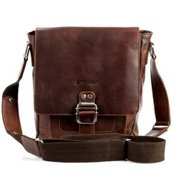 STOKED messenger bag NATHAN ipad shoulder bag S brown Natural Leather cross-body bag