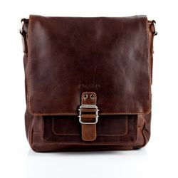 STOKED messenger bag NATHAN ipad shoulder bag L brown Natural Leather cross-body bag