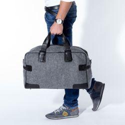 FEYNSINN travel bag carry-all  ROBERTO  weekender duffel bag L black Smooth Leather overnight duffle bag hold-all  5