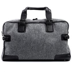 FEYNSINN travel bag carry-all  ROBERTO  weekender duffel bag L black Smooth Leather overnight duffle bag hold-all
