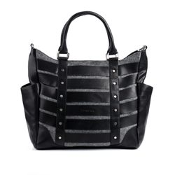 FEYNSINN tote bag & shoulder bag SARAH -552- handbag FELT-AND-SMOOTH leather - black-grey