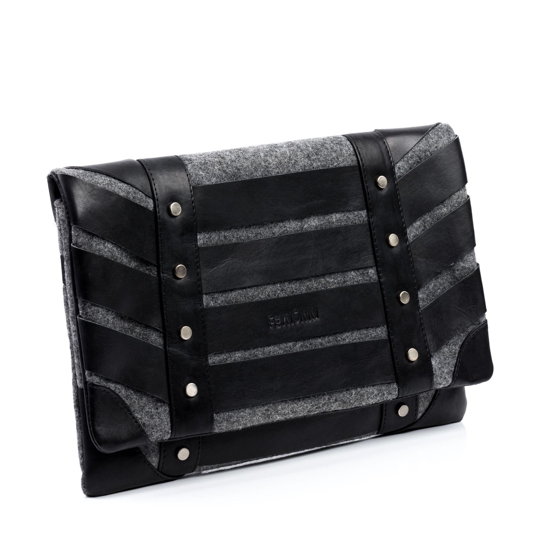 feynsinn clutch sarah ledertasche unterarmtasche leder abendtasche gro l schwarz grau. Black Bedroom Furniture Sets. Home Design Ideas