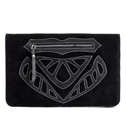 FEYNSINN clutch ISSA -592- evening bag SUEDE-SMOOTH leather - black