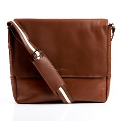 BACCINI messenger bag ROBERTO -4- shoulder bag VT-ANALIN leather - tan-cognac