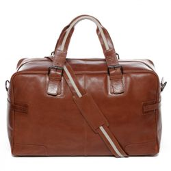 BACCINI travel bag carry-all  ROBERTO  weekender duffel bag L brown Smooth Leather overnight duffle bag hold-all  3