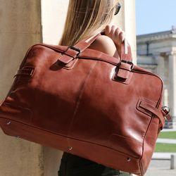 BACCINI sac de voyage cuir marron fourre-tout besace week-end sac sport bagages cabine à main 5