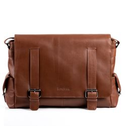 FEYNSINN Messenger bag Anilin-Leder hellbraun Laptoptasche Messenger bag