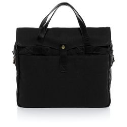 SID & VAIN laptop bag CHASE -1550- business bag CANVAS-PULL-UP leather - black-black