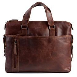 BACCINI laptop bag LEANDRO 15,4'' business office work school bag  L brown Natural Leather portable computer briefcase shoulder strap