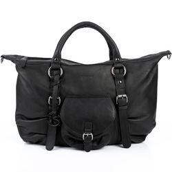 BACCINI tote bag & shoulder bag FIONNA -83- handbag WASHED leather - black