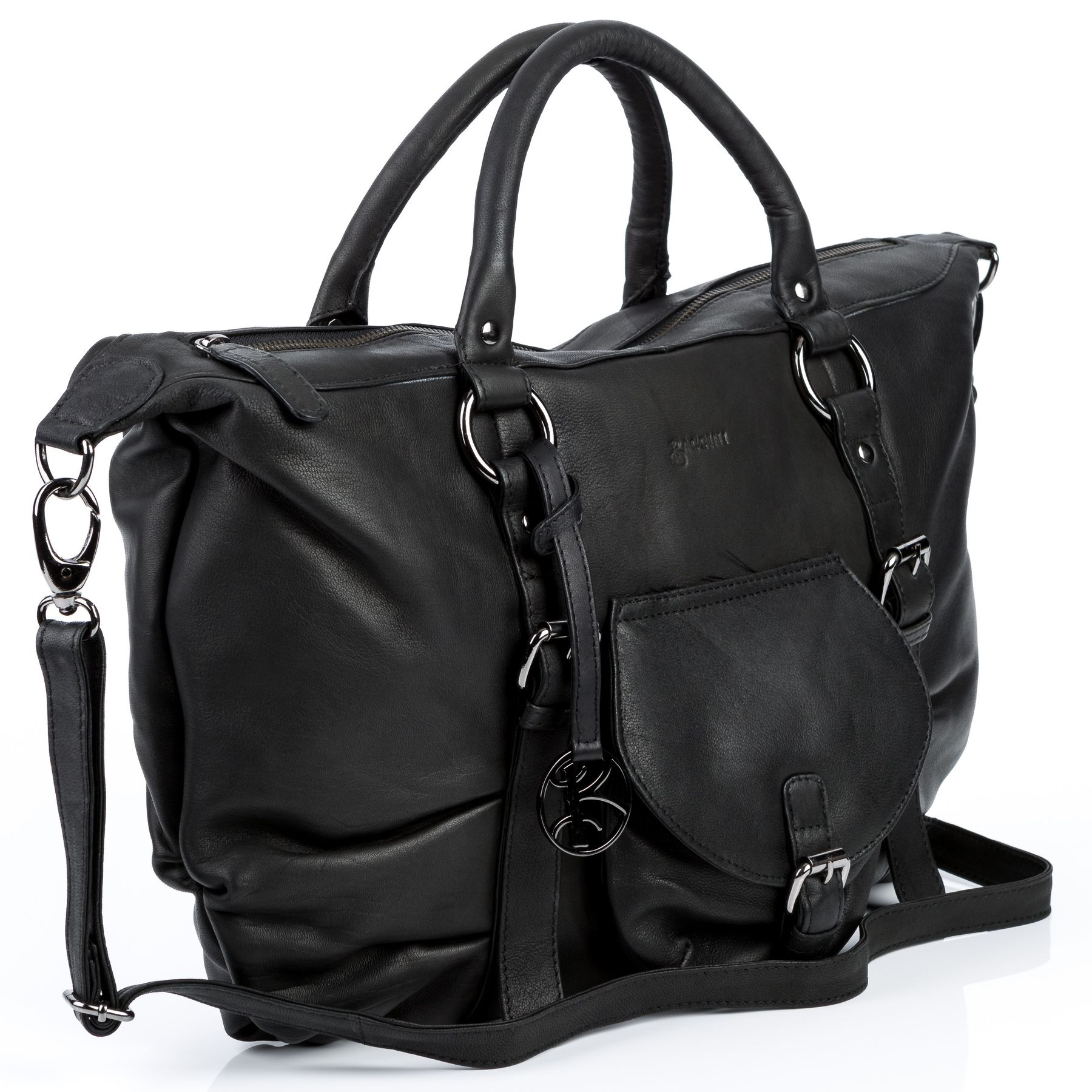 29afdb9910ad5 BACCINI top-handle tote bag Sheep Leather ZOE black shoulder bag ...