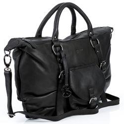 BACCINI Handtasche lange Henkel FIONNA Washed Leder schwarz Henkeltasche Handtasche mit langen Henkeln 2