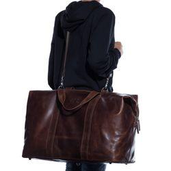 SID & VAIN XL Reisetasche CHESTER Natur-Leder braun-cognac Sporttasche groß Reisetasche 5