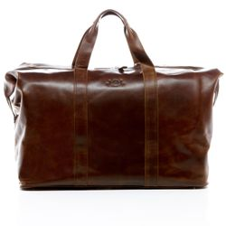 SID & VAIN travel bag carry-all  CHESTER  weekender duffel bag XL brown Natural Leather overnight duffle bag hold-all