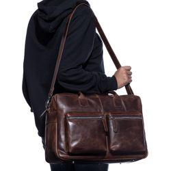 SID & VAIN Laptoptasche Natur-Leder braun-cognac Businesstasche Laptoptasche 5