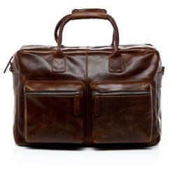 SID & VAIN laptop bag BRIGHTON -913- business bag PULL-UP leather - brown-cognac
