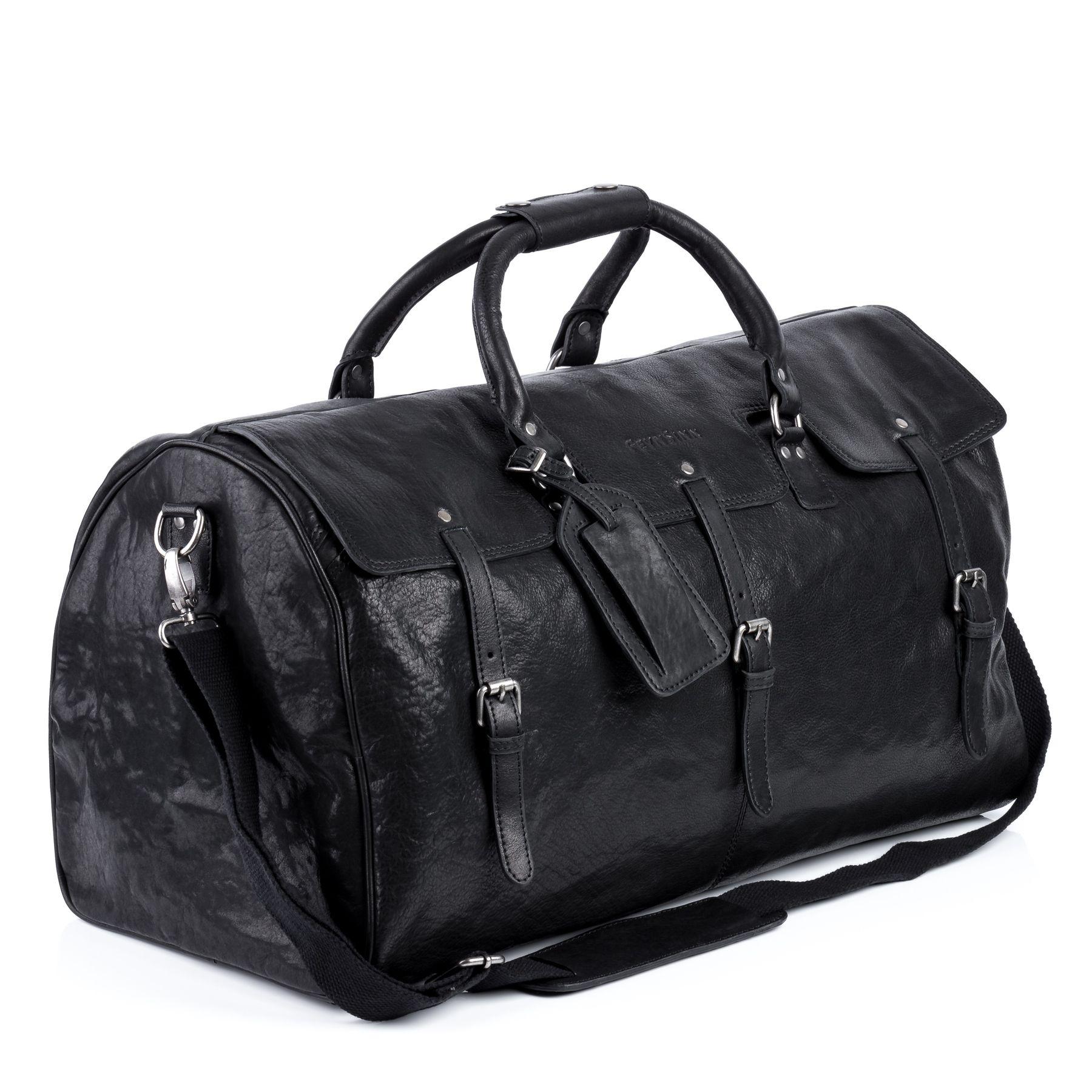 09039185ad72 FEYNSINN travel bag holdall Smooth Leather SELMA black weekender ...