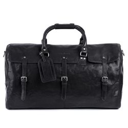 FEYNSINN travel bag carry-all  PHOENIX  weekender duffel bag XL black Smooth Leather overnight duffle bag hold-all