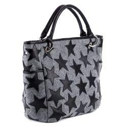 FEYNSINN Handtasche mit langen Henkeln STARS Schultertasche L Filz & Leder Reise-Henkeltasche 2