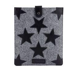 FEYNSINN Tablet-hülle WILLOW - Filz & Leder iPad-Tasche grau und schwarz
