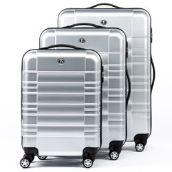 FERGÉ 3 suitcases hard-top cases NICE -XB-01- trolley set ABS&PC - silver-shiny
