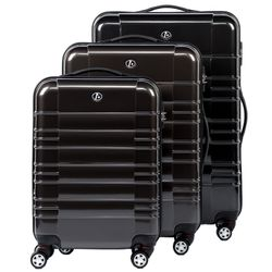 FERGÉ luggage set 3 piece NICE  hard shell trolley 3 sizes grey Polycarbonate suitcase set 4 twin spinner wheels