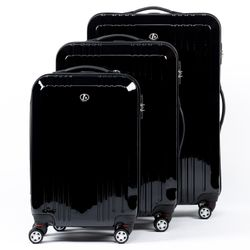FERGÉ 3 suitcases hard-top cases CANNES -XB-03- trolley set ABS&PC - black-shiny