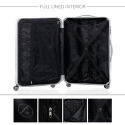 FERGÉ 3er Kofferset CANNES ABS & PC silber glänzend 3er Hartschalenkoffer Roll-Koffer 4 Rollen Kofferset Hartschale 3-teilig 9