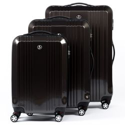 FERGÉ 3 suitcases hard-top cases CANNES -XB-03- trolley set ABS&PC - anthracite-shiny
