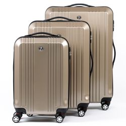 FERGÉ 3 suitcases hard-top cases CANNES -XB-03- trolley set ABS&PC - champagne-shiny