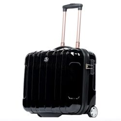 FERGÉ pilot's suitcase trolley PARIS -XB-20c- business-trolley with laptop case ABS&PC - black-shiny