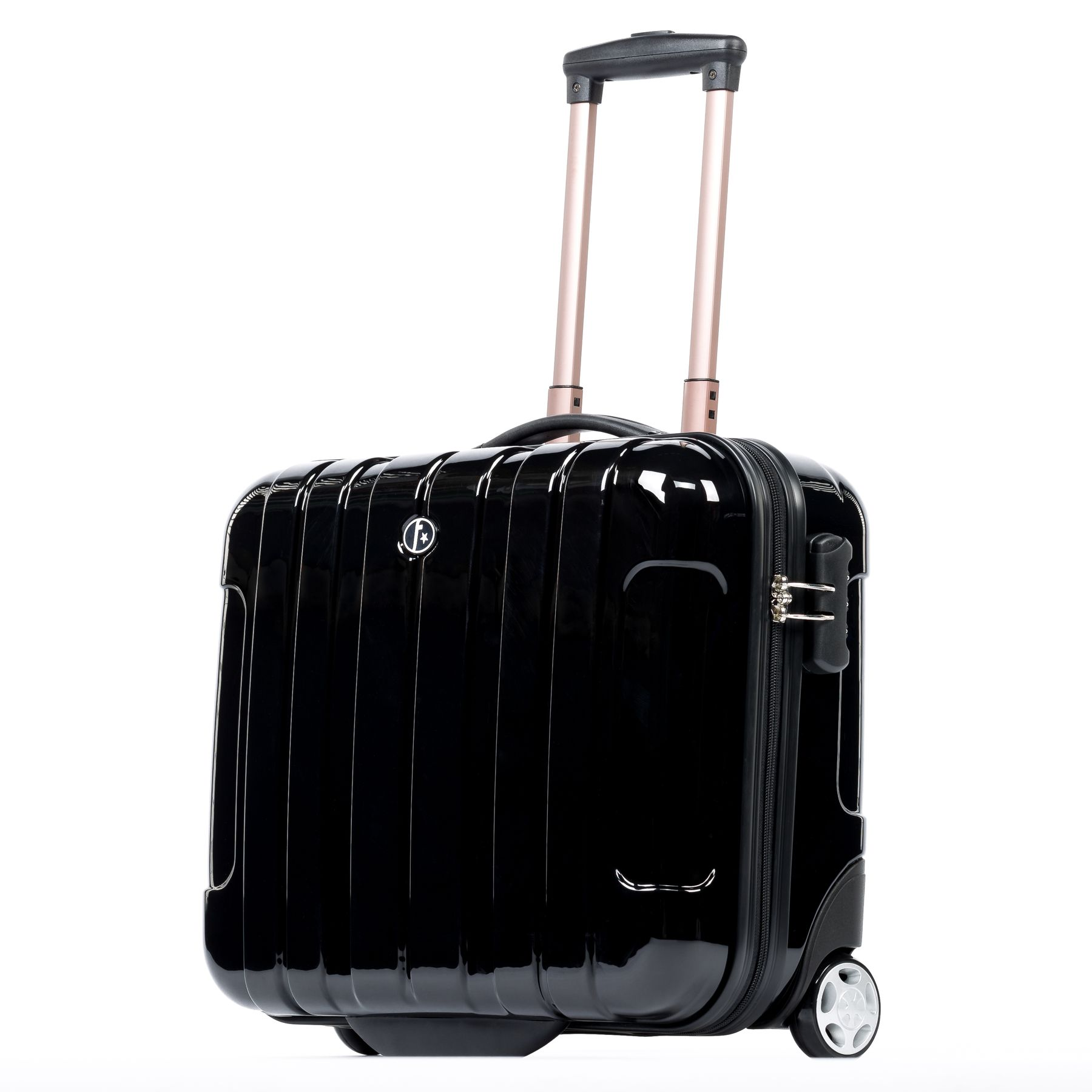 FERGÉ pilot s suitcase trolley Polycarbonate TESSA black-shiny business case  laptop compartment carry-on hard-shell 2 wheels Business Carry-on Luggage d5661cc3b3
