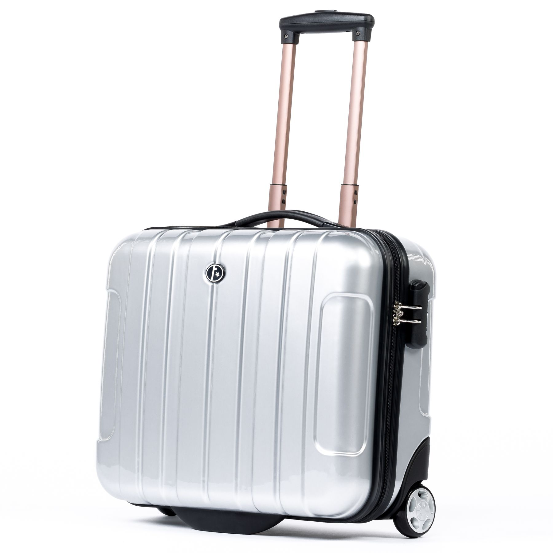 FERGÉ pilot s suitcase trolley Polycarbonate LUCA silver-shiny business case  laptop compartment carry-on hard-shell 2 wheels Business Carry-on Luggage be4b0819d7