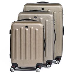 FERGÉ luggage set 3 piece LYON  hard shell trolley 3 sizes beige ABS suitcase set 4 twin spinner wheels
