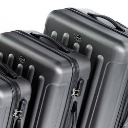 FERGÉ Kofferset 3-teilig LYON Trolley-Koffer Hartschale leicht 3 Größen ABS Dure-Flex Koffer-Set Leicht 3er Hartschalenkoffer Set (M L XL ) 4 Zwillingsrollen (360°) 4