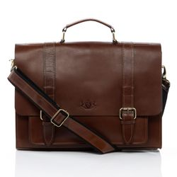 SID & VAIN briefcase BRISTOL -900.15- business bag SADDLE leather - brown