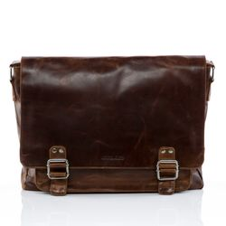 STOKED Messenger bag Natur-Leder braun-cognac Laptoptasche Messenger bag