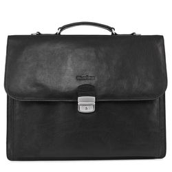 FEYNSINN briefcase EMILIO 15,4'' office work bag XL black Smooth Leather portable computer briefcase shoulder strap