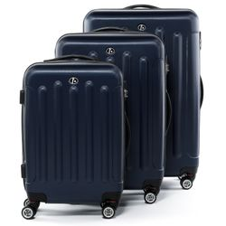 FERGÉ 3 suitcases hard-top cases LYON -XB-02 – matt- trolley set ABS - dark-blue