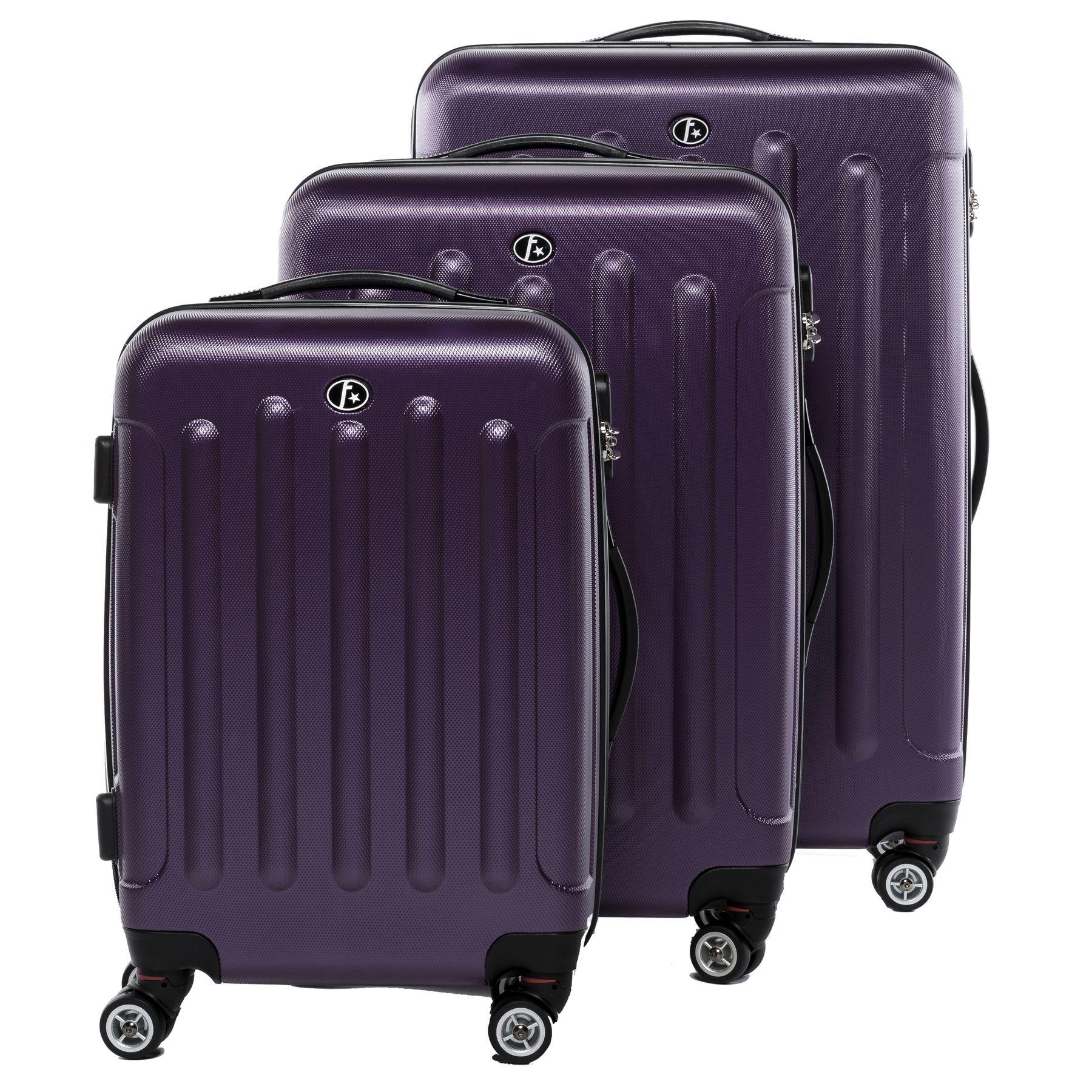 ferg set 3 valises voyage rigide l ger abs violet ensemble de bagages trois pc 4 roues trolley. Black Bedroom Furniture Sets. Home Design Ideas