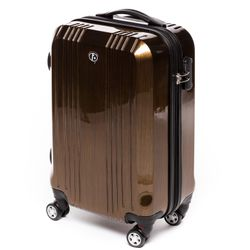 FERGÉ 3er Kofferset CANNES ABS & PC bronze-metallic 3er Hartschalenkoffer Roll-Koffer 4 Rollen Kofferset Hartschale 3-teilig 4