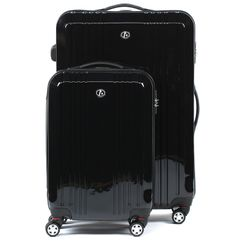 FERGÉ two luggage set CANNES -XB-03-20-28- 2 suitcase hard-top cases ABS&PC - black-shiny