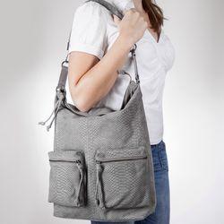 BACCINI Beuteltasche SOFIA Schultertasche L geprägtes Leder Umhängetasche Beuteltasche Hobo Bag 5