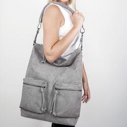BACCINI Beuteltasche SOFIA Schultertasche L geprägtes Leder Umhängetasche Beuteltasche Hobo Bag 6