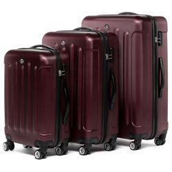 FERGÉ Kofferset 3-teilig Hartschale Burgundrot 3er Hartschalenkoffer Trolley-Set 4 Zwillings-Rollen 360° Kofferset 3-teilig Hartschale 2