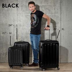 FERGÉ Kofferset 3-teilig LYON Trolley-Koffer Hartschale leicht 3 Größen ABS Dure-Flex Koffer-Set Leicht 3er Hartschalenkoffer Set (M L XL ) 4 Zwillingsrollen (360°) 7